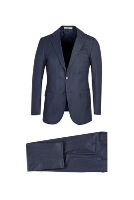 Erkek Giyim - LACİVERT 60 Beden Klasik Ekose Takım Elbise
