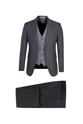 Erkek Giyim - KOYU FÜME 54 Beden Yelekli Desenli Takım Elbise