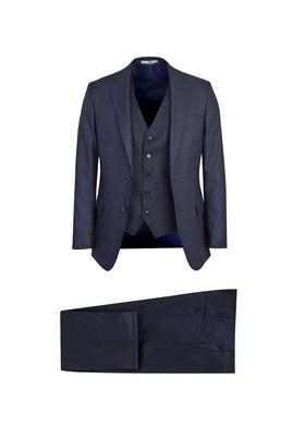 Erkek Giyim - KOYU MAVİ 54 Beden Yelekli Desenli Takım Elbise