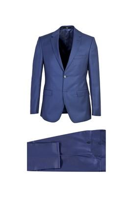 Erkek Giyim - KOYU MAVİ 54 Beden Slim Fit Yünlü Takım Elbise