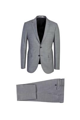 Erkek Giyim - ORTA GRİ 48 Beden Slim Fit Desenli Yünlü Takım Elbise