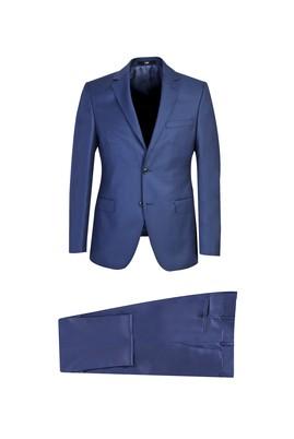 Erkek Giyim - KOYU MAVİ 52 Beden Slim Fit Yünlü Takım Elbise