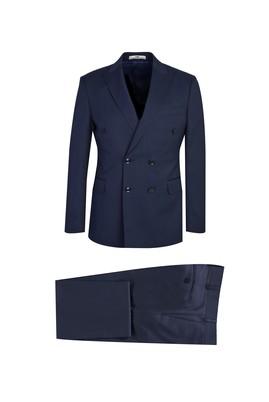 Erkek Giyim - KOYU LACİVERT 44 Beden Slim Fit Kruvaze Çizgili Yünlü Takım Elbise