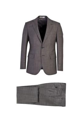 Erkek Giyim - KOYU FÜME 50 Beden Slim Fit Desenli Takım Elbise