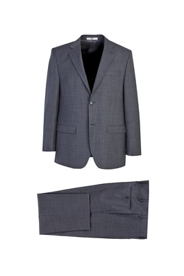 Erkek Giyim - ORTA GRİ 62 Beden Klasik Yünlü Desenli Takım Elbise