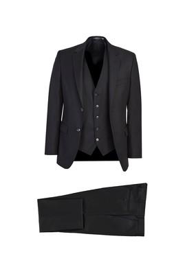 Erkek Giyim - SİYAH 60 Beden Yelekli Klasik Takım Elbise
