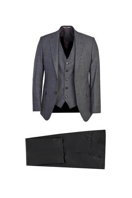 Erkek Giyim - AÇIK GRİ 56 Beden Slim Fit Yelekli Ekose Takım Elbise