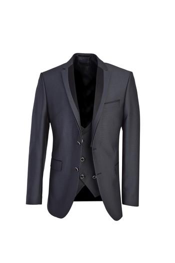 Erkek Giyim - Mono Yaka Slim Fit Yelekli Smokin / Damatlık