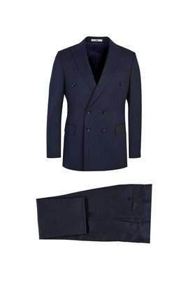 Erkek Giyim - KOYU LACİVERT 58 Beden Kruvaze Yünlü Çizgili Takım Elbise