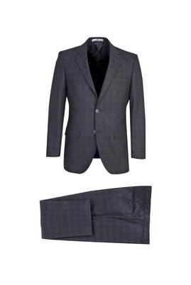 Erkek Giyim - KOYU FÜME 58 Beden Klasik Yünlü Ekose Takım Elbise