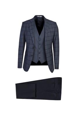 Erkek Giyim - ORTA LACİVERT 54 Beden Süper Slim Fit Yelekli Ekose Takım Elbise