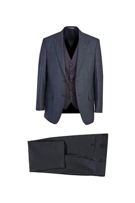 Erkek Giyim - AÇIK FÜME 58 Beden Regular Fit Yelekli Ekose Takım Elbise