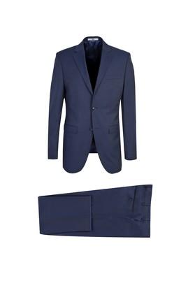 Erkek Giyim - KOYU LACİVERT 50 Beden Klasik Yünlü Takım Elbise