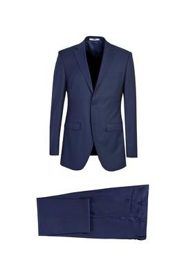 Erkek Giyim - KOYU LACİVERT 52 Beden Klasik Yünlü Desenli Takım Elbise