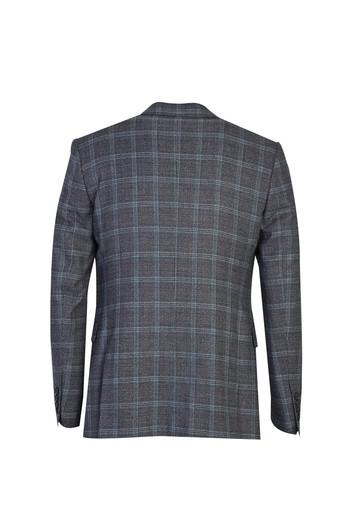 Erkek Giyim - Slim Fit Yelekli Ekose Takım Elbise
