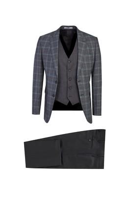 Erkek Giyim - ORTA PETROL 48 Beden Slim Fit Yelekli Ekose Takım Elbise