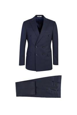 Erkek Giyim - SİYAH LACİVERT 50 Beden Kruvaze Yünlü Çizgili Takım Elbise