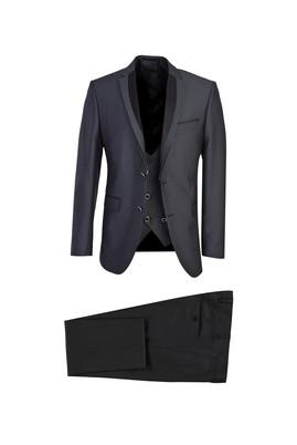 Erkek Giyim - KOYU FÜME 52 Beden Mono Yaka Slim Fit Yelekli Smokin / Damatlık