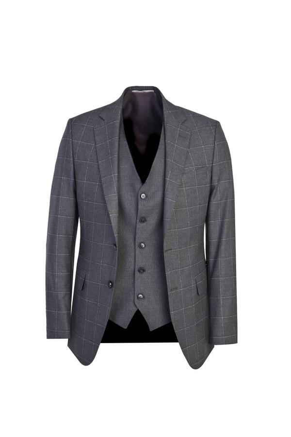 Slim Fit Yelekli Ekose Takım Elbise