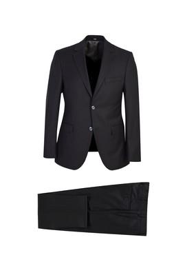 Erkek Giyim - SİYAH 48 Beden Slim Fit Desenli Yünlü Takım Elbise