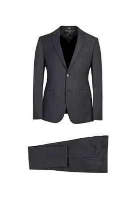 Erkek Giyim - KOYU FÜME 48 Beden Süper Slim Fit Yünlü Takım Elbise