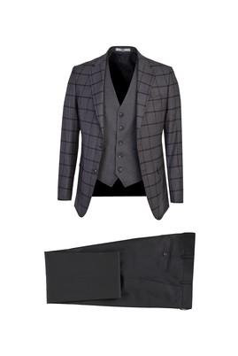 Erkek Giyim - ORTA FÜME 58 Beden Regular Fit Ekose Takım Elbise
