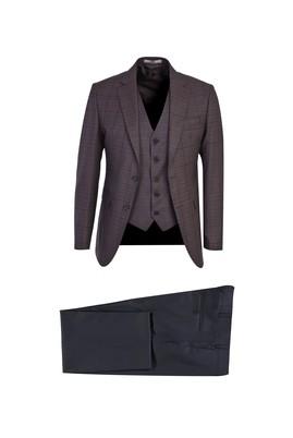 Erkek Giyim - ACI KAHVE 50 Beden Slim Fit Ekose Takım Elbise