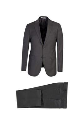 Erkek Giyim - KOYU ANTRASİT 56 Beden Slim Fit Desenli Yünlü Takım Elbise