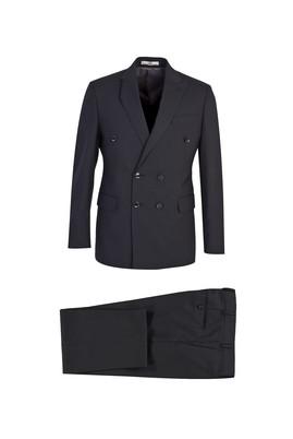 Erkek Giyim - SİYAH LOT1 50 Beden Slim Fit Kruvaze Çizgili Yünlü Takım Elbise