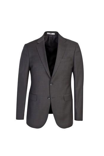 Erkek Giyim - Slim Fit Yünlü Desenli Takım Elbise