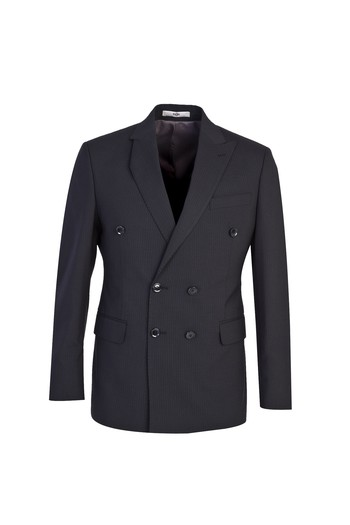 Erkek Giyim - Slim Fit Yünlü Çizgili Kruvaze Takım Elbise