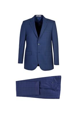 Erkek Giyim - ORTA LACİVERT 52 Beden Regular Fit Yünlü Ekose Takım Elbise