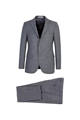 Erkek Giyim - ORTA GRİ 52 Beden Slim Fit Kareli Yünlü Takım Elbise
