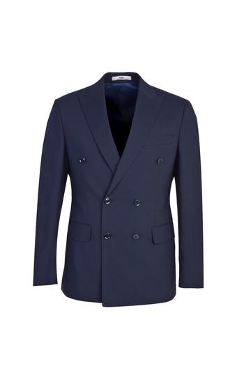 Erkek Giyim - Slim Fit Kruvaze Çizgili Yünlü Takım Elbise