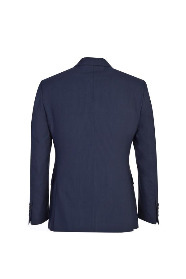 Slim Fit Kruvaze Çizgili Yünlü Takım Elbise