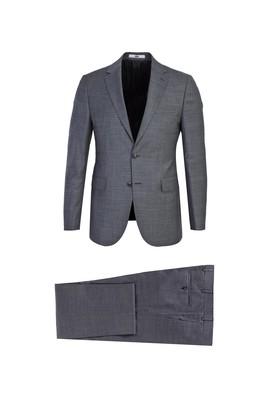 Erkek Giyim - AÇIK FÜME 46 Beden Slim Fit Desenli Yünlü Takım Elbise