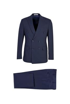 Erkek Giyim - SİYAH LACİVERT 54 Beden Slim Fit Kruvaze Çizgili Yünlü Takım Elbise