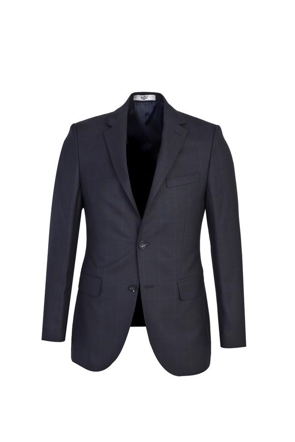 Slim Fit Ekose Yünlü Takım Elbise