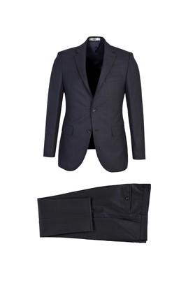 Erkek Giyim - KOYU LACİVERT 54 Beden Slim Fit Ekose Yünlü Takım Elbise