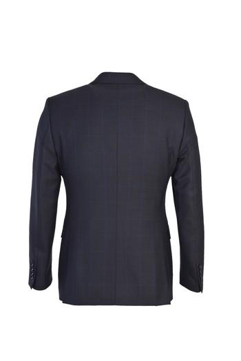 Erkek Giyim - Slim Fit Yünlü Ekose Takım Elbise