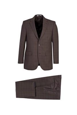 Erkek Giyim - AÇIK KAHVE 58 Beden Regular Fit Yünlü Ekose Takım Elbise