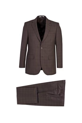 Erkek Giyim - Klasik Ekose Yünlü Takım Elbise