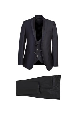 Erkek Giyim - SİYAH LACİVERT 50 Beden Slim Fit Mono Yaka Yelekli Smokin / Damatlık