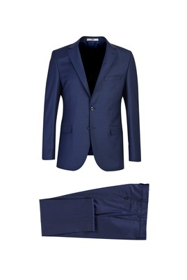 Erkek Giyim - AÇIK LACİVERT 54 Beden Slim Fit Yünlü Kareli Takım Elbise