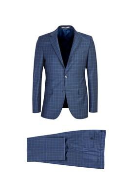 Erkek Giyim - KOYU MAVİ MELANJ 52 Beden Slim Fit Yünlü Ekose Takım Elbise