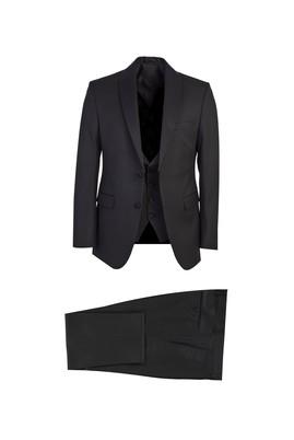 Erkek Giyim - SİYAH 50 Beden Slim Fit Mono Yaka Yelekeli Smokin / Damatlık