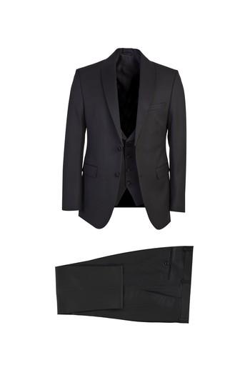 Erkek Giyim - Slim Fit Mono Yaka Yelekeli Smokin / Damatlık