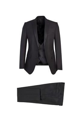 Erkek Giyim - SİYAH 46 Beden Slim Fit Mono Yaka Yelekeli Smokin / Damatlık