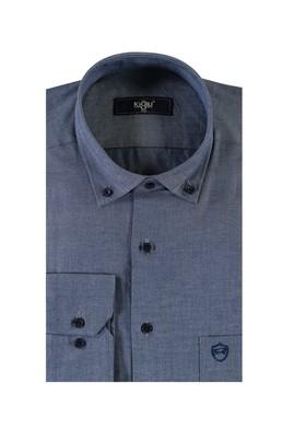 Erkek Giyim - LACİVERT XL Beden Uzun Kol Oxford Spor Gömlek