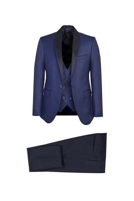 Erkek Giyim - KOYU MAVİ 52 Beden Slim Fit Şal Yaka Yelekli Smokin / Damatlık